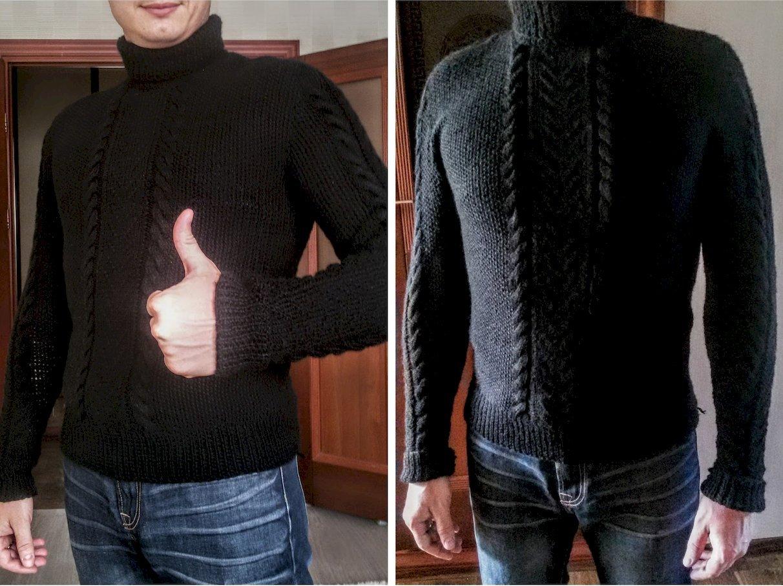 Мужской вязаный свитер с горлом