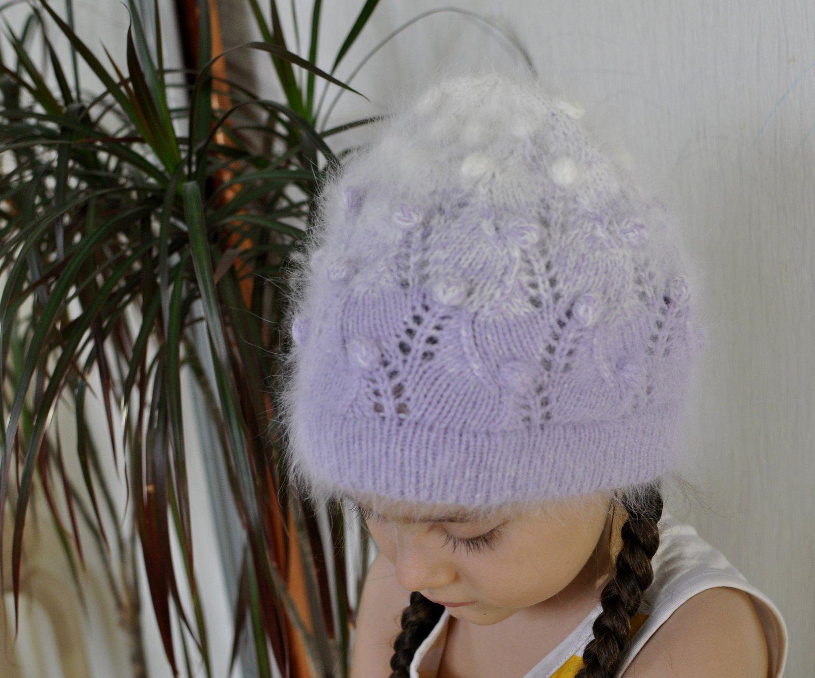 Мастер-класс по вязанию весенней шапки Весеннее настроение. Бесплатно. Пряжа Пух норки (Mink Wool) в две нити, расход 110 грамм, размер 54, удлиненная